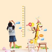 Wholesale Growth Wall Sticker - 60*90cm Cartoon Giraffe and Monkey Kids Height Growth Charts Wall Stickers DIY Art Decal Removeable Wallpaper Mural Sticker DLX5528