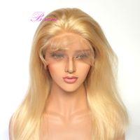 perruques avant en dentelle blanche achat en gros de-10A grade blonde pleine dentelle perruques de cheveux humains # 613 Brésilienne de cheveux humains avant de lacet perruques blondes perruques 130% de densité pour les femmes blanches