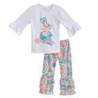 butik ruffle pants toptan satış-Toptan Satış - Bunny Tee Gömlek ile Kızlar Bahar Giyim Seti Beyaz Top Renkli Vintage Fırfır Pantolon Çocuk Giyim Butik Pamuk Kıyafetleri E001