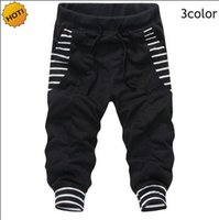 calças baggy design venda por atacado-Moda HIP Hop Big Bolso Stripe Design Feixe de Calças de Pé Bermuda Masculina Com Cordão Rua Baggy Harem Pants Calças Cortadas