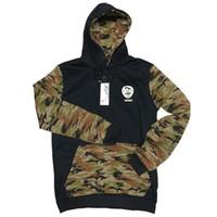 Wholesale Double Collar Hoodie Men - Wholesale-Hoodies Men 2016 Hip Hop Printing Mens Double Pockets Camouflage Patchwork Hooded Sweatshirts Tracksuit Slim Mens Camo Clothes