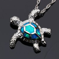 Wholesale Sea Turtle Necklace Pendant - Vivid Turtle Silver Plated White & Blue Opal Charm Pendants & Necklace Hot Sale Unisex Sea Beach Jewelry Christmas Gift PD005