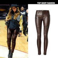 Wholesale leather pants style women - 2017 Low waisted brown faux leather locomotive jeans plus size tight skinny leather pencil pants full length slim leather jeans