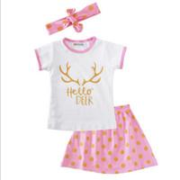 Wholesale Dots Cloth Shirt - New Girls Boutique Clothing Gold Pink Girls Skirt Set Summer Short Sleeve Girls T-shirt Skirt with Headband set Dot Kids Cloth