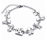 Wholesale Little People Christmas - Fashion Creative personality little people Charm Bracelet lettering My Family litter sister Friendship Bracelet for woman Family Jewelry