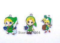 Wholesale Sliding Pc - New 10 pcs Cartoon Japanese Anime ZELDA Enamel Metal Charm Pendants, Fashion Key Chain DIY Jewelry Making Accessories Pendant N-47