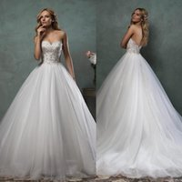 Wholesale Sexy Sweet Heart Line Dress - Amelia Sposa 2017 Wedding Dresses Bridal Gown With A-Line Sweet-heart Sexy Backless Vintage Beads Lace Crystal Tulle Court Train