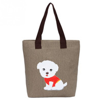 Sac À Provisions Réutilisable À Fermeture À Glissière Pas Cher-Kawaii Cute Womens Lovely Sac à main Dog Pattern Shoulder Canvas Zipper Bags Sac à provisions Sac réutilisable Sac de voyage