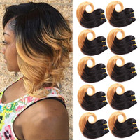 "Wholesale Two Tone Blonde Ombre Hair - 10Pcs 8""Short 1B 27 Honey Blonde Brazilian Human Hair Weaves Bundles Body Wave Brazilian Two Tone Ombre Human Hair Wefts Extensions 30g pcs"