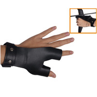 Wholesale Leather Gloves Bows - Hunting Archery Protect Leather Arrow Finger Glove Gear Finger Protector Hand Guard for Archery Bow Shooting