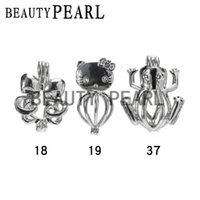 Wholesale Cat Cages - 10 Pieces Wholesale Love Pearl Pendant Lockets Cage Mixed Blooming Flower Cat Frog Wish Cages Jewelry