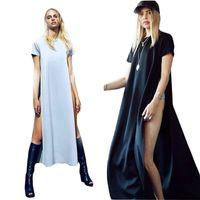 Wholesale Sexy Club Clothes Wholesale - Wholesale- Sexy Dress T Shirt Dress For Women With Side Slit 2015Summer Fashion Brief Ladies Casual Clothes Vestido De Festa Maxi Dress C84