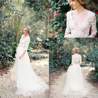 Wholesale Half Sleeve Plunge Neck Dress - Modest Bohemian Country 2017 Lace Wedding Dresses with Half Sleeves Plunging Neckline Beading Sash Tulle A Line Bridal Gowns