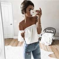 Wholesale Butterfly Clothes Women - Wholesale-white red S-XL t shirt women butterfly sleeve off the shoulder crop top 2016 summer women layered femme plus size clothing JZ001