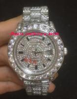 роскошные часы бриллианты оптовых-Новое прибытие роскошные наручные часы 18 к мужские белое золото 36 мм больше Алмаз часы автоматические механические мужские часы