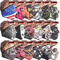 Wholesale Neck Warmer Ski Mask - 2017 Full Skull Face Mask Halloween costume party face mask Motorbike Bike windproof mask Ski Snowboard Sports neck warm facemask DHL Free
