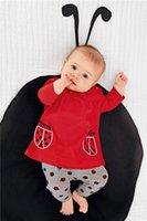 Wholesale Ladybird Clothes - Whosale Girl Spring Autumn Clothes Sets Baby Girl Ladybird Embroidered Long Sleeved T Shirt +Long Pants Two Piece Sets Kids Cotton Clothes S