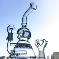 Wholesale Dome Base - Mini Beaker Base Glass Water Bong Inline Perc & Honeycomb Water Pipes Alien Recycler Dab Oil Rigs Bongs With Glass Bowl Dome Nail WP176