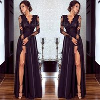 Wholesale Sheer Top Prom Dress - 2018 Black V Neck Sheer Long Sleeves Satin Evening Dresses Lace Top Split A Line Party Prom Dresses