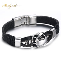 Wholesale gothic mens stainless steel bracelets - Meaeguet Punk Rock Mens Black Durable Leather Bracelets Gothic Skull Cuff Bangle Stainless Steel Skeleton Pulseiras Masculinas