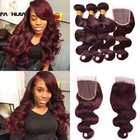 Wholesale Body Wave Weave Brands - Full lace frontal closure with bundles burgundy Brazilian body wave human hair weave closure in top brand can restyle for women full head