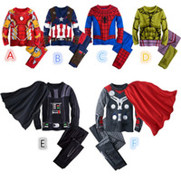 Wholesale Christmas Pajamas For Children Cotton - Christmas Superhero Pajamas Sets For Boys Children Avengers Ironman Spiderman T-Shirt + Loose-Fitting Pants Tracksuit Pajama 6 Colors