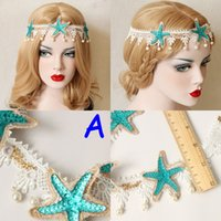 Lolita Bridal Beach Crown Hairband Sea Star Stirnband Cosplay Party Hochzeit Fotografie Kopfbedeckung Haar Spitze Lei