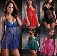 Wholesale Transparent Blue Nightgown - Women Sexy Lace Straps Mini Sleep Dress Nightdress Pajamas Underwear Deep V-neck Transparent Sleepwear Nightgown 170317