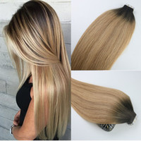 Wholesale Tape Hair Extensions 27 - Tape In Human Hair Extensions Ombre Hair Brazilian Virgin Hair Balayage Dark Brown to 27 Blonde Extensions Highlight Skin Weft