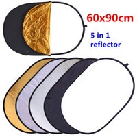 Wholesale Photo Discs - 60x90cm 24''x35'' 5 in 1 Multi Disc Photography Studio Photo Oval Collapsible Light Reflector handhold portable photo disc