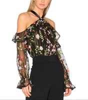 Wholesale Sexy Black Halter Transparent - Women Sexy Slash Neck Ruffles Floral Embroidery Mesh Shirts Black Transparent Tops Off Shoulder Halter Lace Up Blouse Ladies Top