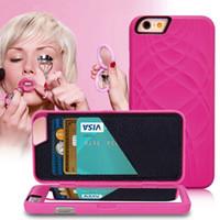 wasser telefon schutz großhandel-Für iPhone 8 3D Wasser Haut PU Leder Rückseitige Abdeckung Spiegel Fall Dual Layer Card Phone Case Schutz Für iPhone SE 6 plus