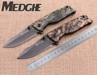 Wholesale Camo Camp Coats - MEDGE BUCK X58 Knives Flipper Clip Point Blade Camo Tree Pattern Handle Coated Gray Titanium Fast Open Folding EDC knife Outdoor Camping