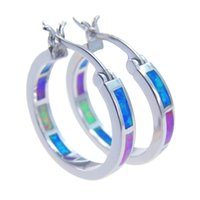 Wholesale Pink Sterling Silver Hoop Earrings - Hoop earrings With OPAL Color stone 925 Earrings Hot sale DR00166E 20mm Free Shipping
