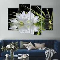 Wholesale Modern Art Flowers Canvas - 4 Pieces set Canvas Print Flower White Lotus In Black Wall Art Picture with Modern Wall Paintings Modular picture (Unframed)