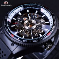 Wholesale Silicone Watches Design - Forsining 2017 Rotating Bezel Silicone Band Sport Design Men Watches Top Brand Luxury Automatic Black Fashion Clock Casual Watch