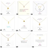 Wholesale Anchor L - New arrival With card! gold Silver color Dogear Necklace with different pendant, cross Wishing Bones Anchor infinity Circle Elephant Heart L