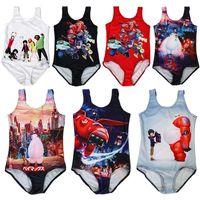 Wholesale Summer Baby Girl S - 7 styles 5-10 years old baby cartoon pattern girl swimsuit cute summer children's swimsuit Super Marines bikini somersault swimsuit S-L