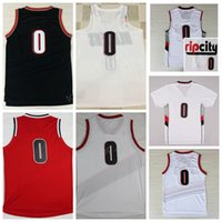 Wholesale Color White Jersey Basketball - Top Sale RipCity 0 Damian Lillard Jersey Men Throwback Rip City Lillard Basketball Jerseys Team Color Red White Black with player name