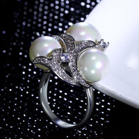 Wholesale Cz Pearl - New Latest design ring white pearl Ring Trendy Birthday gift With High quality crystal CZ Nice Ring