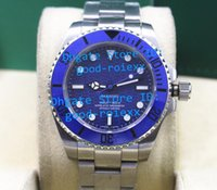 Wholesale Mens Ceramic Bracelets - 2 Style Mens Automatic White Blue Wave Dial Matte Finish Steel Bracelet Watch Men Ceramic Bezel Watches Crystal Bamford Sport Wristwatches
