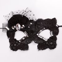 Wholesale Cat Lace Veil - Halloween Mask Sexy Catwoman Mask With Flower Rhinestone Goggles Princess Party Nightclub Lace Veil Mask Black One Size Fit Most