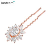 Bridal Wedding Hairpin Big Flower Luxo Rose / Champagne Gold-Color Jóias Feminino Zircon Hair Accessories Wholesale LUOTEEMI
