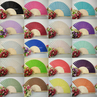 Wholesale Pink Gold Favors - Wedding Favors Gifts Elegant Solid Candy Color Silk Bamboo Fan Cloth Wedding Hand Folding Fans+DHL Free Shipping