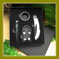 Wholesale Bottle Opener Kits - Red Wine Bottle Opener 4 Pcs In One Set Wines Accessory Kit Gifts Corkscrew Many Styles 7 8fh C R