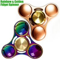 Wholesale Wholesale Kids Dh - Top quality Fidget Spinner Toys Rainbow & Golden Triangle Hand Spinners Alloy CNC EDC Finger Tip decompression novelty Rollover plush Toy DH