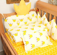 Wholesale Handmade Crown Baby - Infant Bedding Set Crown crib bumper baby bedsheets 10 pieces handmade embroidery yellow no fluorescer free shipping