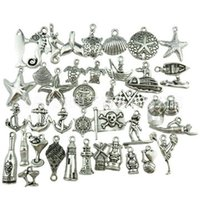 Wholesale Wholesale Seahorse Charm - 300pcs Mini Marine Animals Pendant Charms Starfish Shell Seahorse Metal Accessories Pendant For DIY Necklace Bracelet Jewelry Making