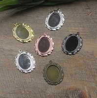 Wholesale Cameo Cabochon Black - Fit 13*18mm diy antique bronze silver rose gold gun black Copper oval metal stamping pendant blanks, charm base cameo cabochon setting bezel