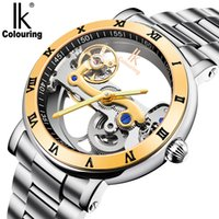 Wholesale Stainless Steel Ik - 2017 NEW!Original IK 50M waterproof watch double face hollow out fashion skeleton automatic men mechanical self wind brand swimming